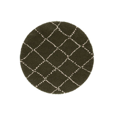 Design Verlours Deep Pile Carpet Hash Olive Green Circle