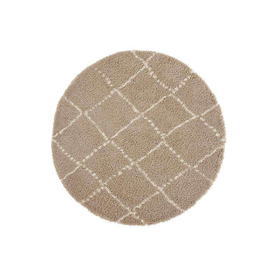 Design Verlours Deep Pile Carpet Hash Beige Cream Circle
