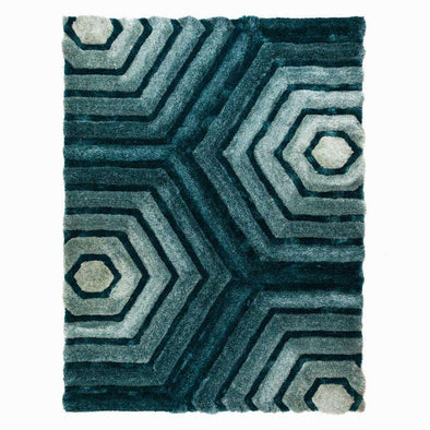 Verge Hexagon Duck Egg Rug