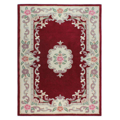 Lotus Premium Dynasty Wool Aubusson Red Soft Rug
