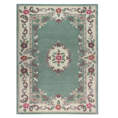 Lotus Premium Dynasty Wool Aubusson Green Rug