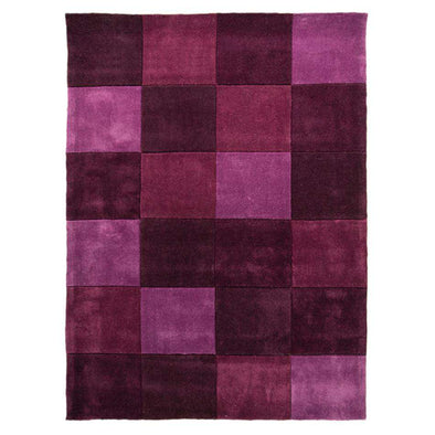 Infinite Squared Aubergine Polyester Rug