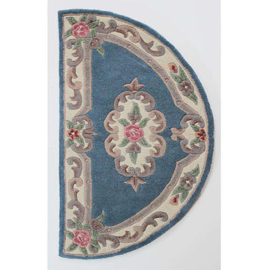 Lotus Premium Aubusson Blue Half Moon Rug