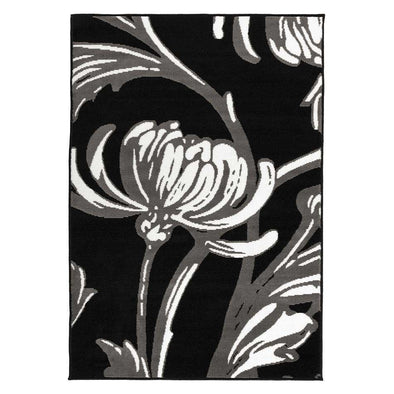 Element Prime Loretta Grey/ Black Floral Rug