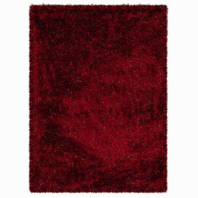 Dazzle Red Plain Shaggy Rug