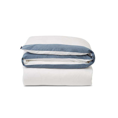 White/Steel Blue Contrast Cotton Sateen Duvet Cover
