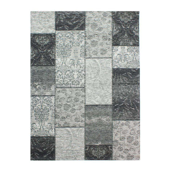 Manhattan Patchwork Chenille Black Grey Rug