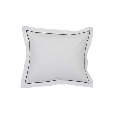 Hotel Percale White/ Blue Pillowcase