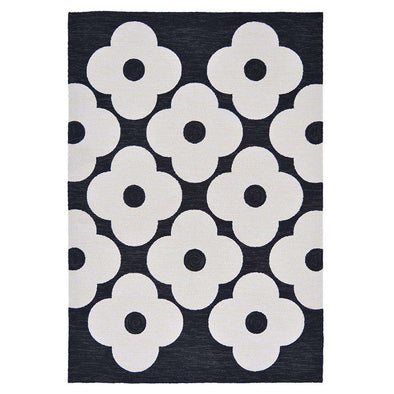 Spot Flower 460805 Black Outdoor Rug
