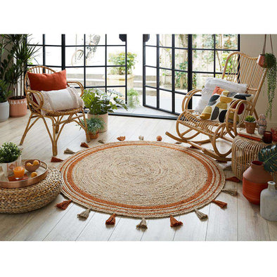 Lunara Jute Circle Istanbul Orange Circle