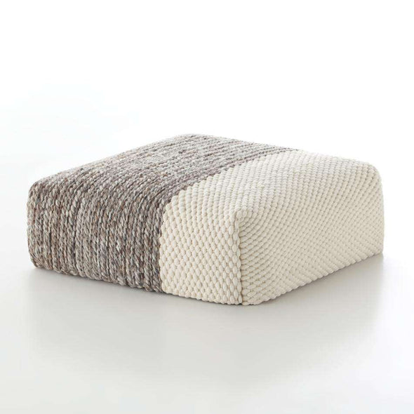 Mangas Plait Square Pouf Cream