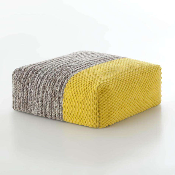 Mangas Plait Square Pouf Yellow