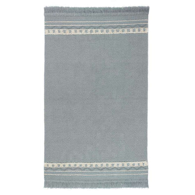 Rustic Flatweave Trim Sky Grey Cream