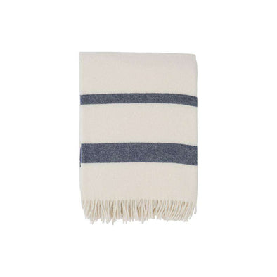 Hotel Wool Throw White/ Blue