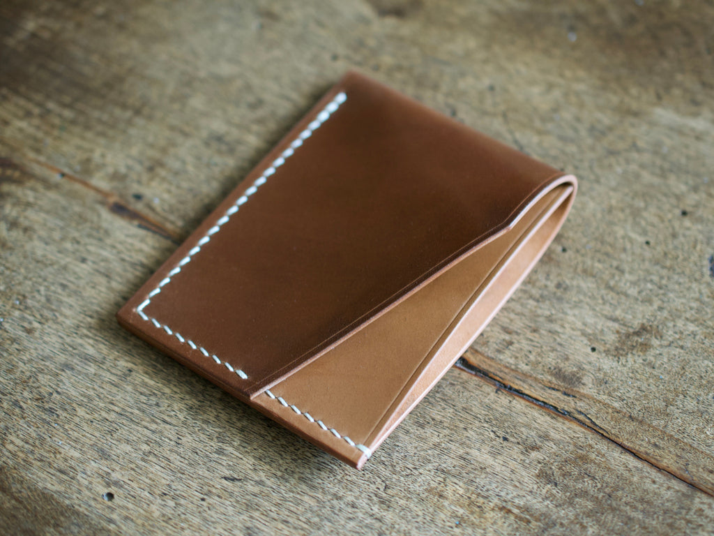 Alba - 2 Pocket Card Wallet - Horween Shell Cordovan (Bourbon)