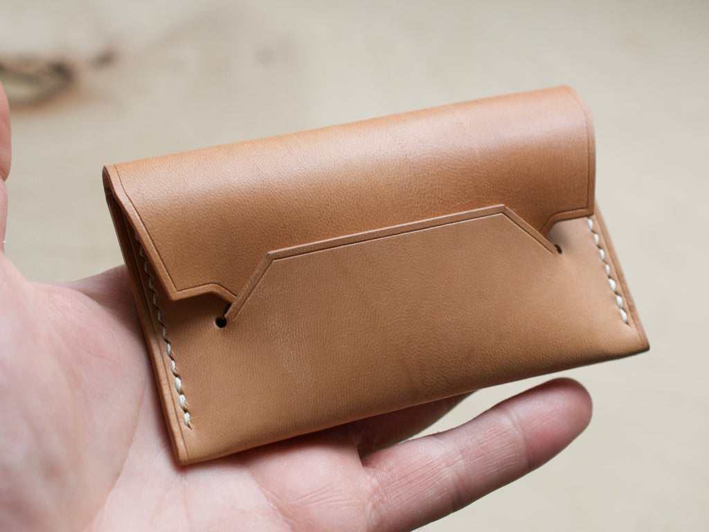 Hedgehog - 1 Pocket Pouch Wallet - Horween Horse Strips (Natural)