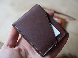 Wrap Wallet - 2 Pocket Card Wallet - Badalassi Carlos Pueblo Leather (Tobacco)