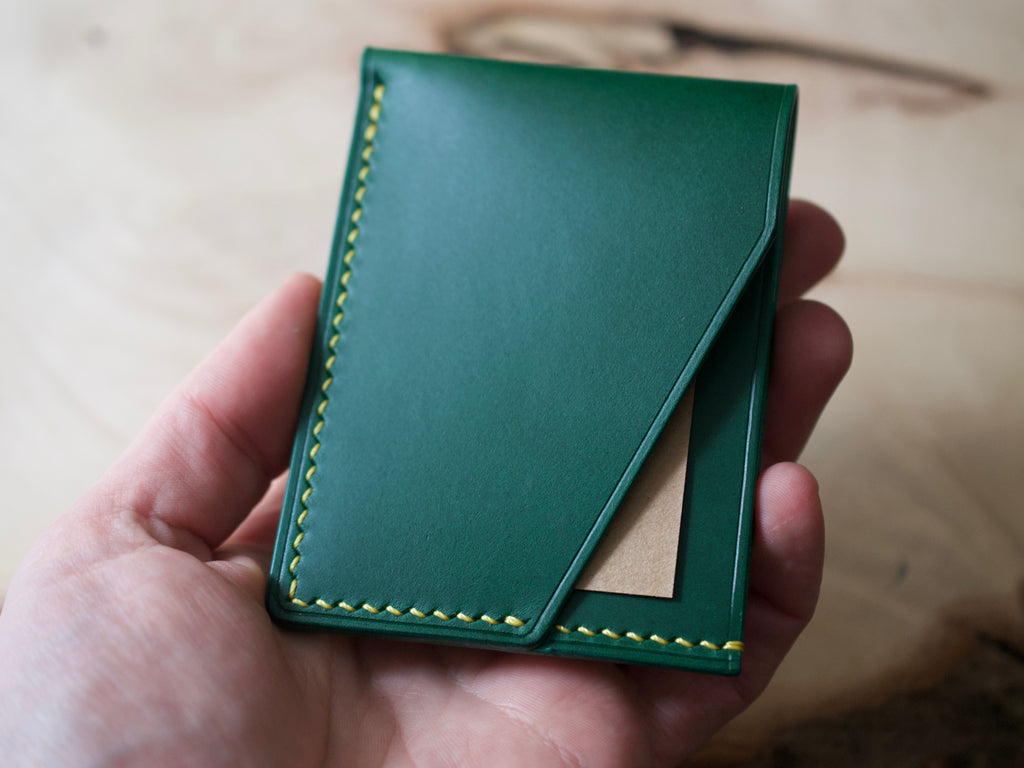 SALE! Alba - 2 Pocket Card Wallet - Conceria Walpiers Buttero Leather (Green)