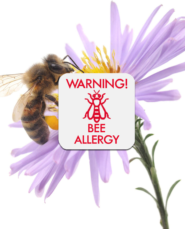 Bee on a flower with bee allergy sticker