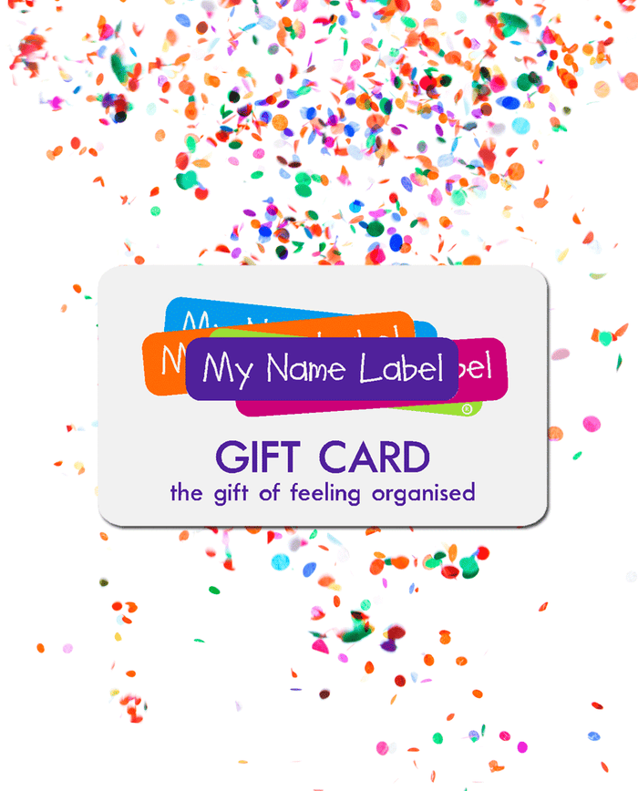 My Name Label Gift Card and Confetti