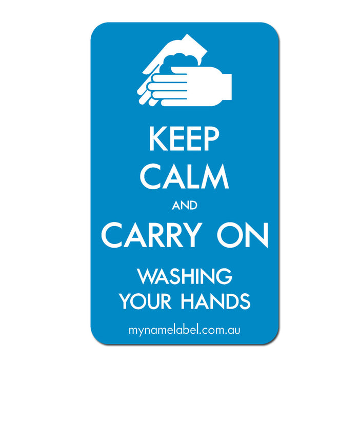 Keep Calm and Carry On - Blue Sticker