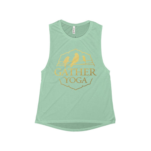 Ladies Gold Flowy Scoop Muscle Tank