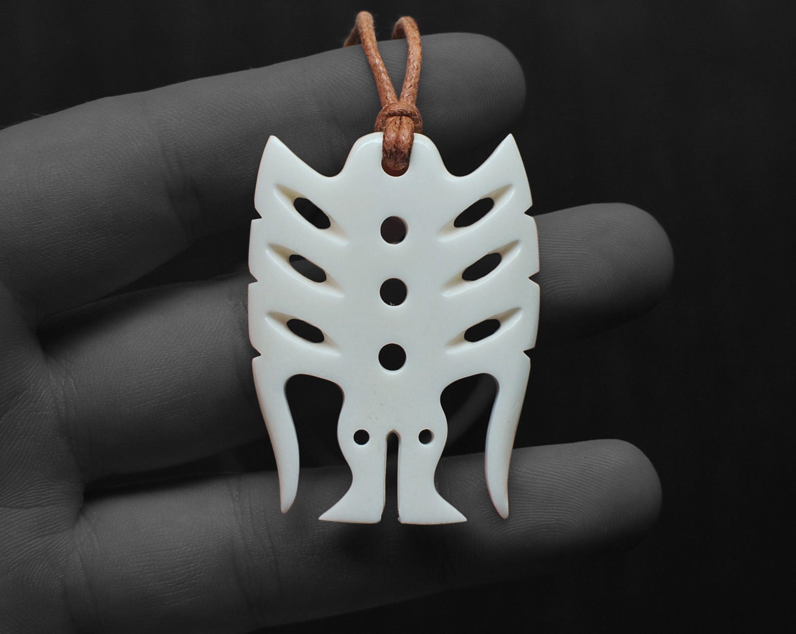 maori necklace bone carving frigate bird pendant