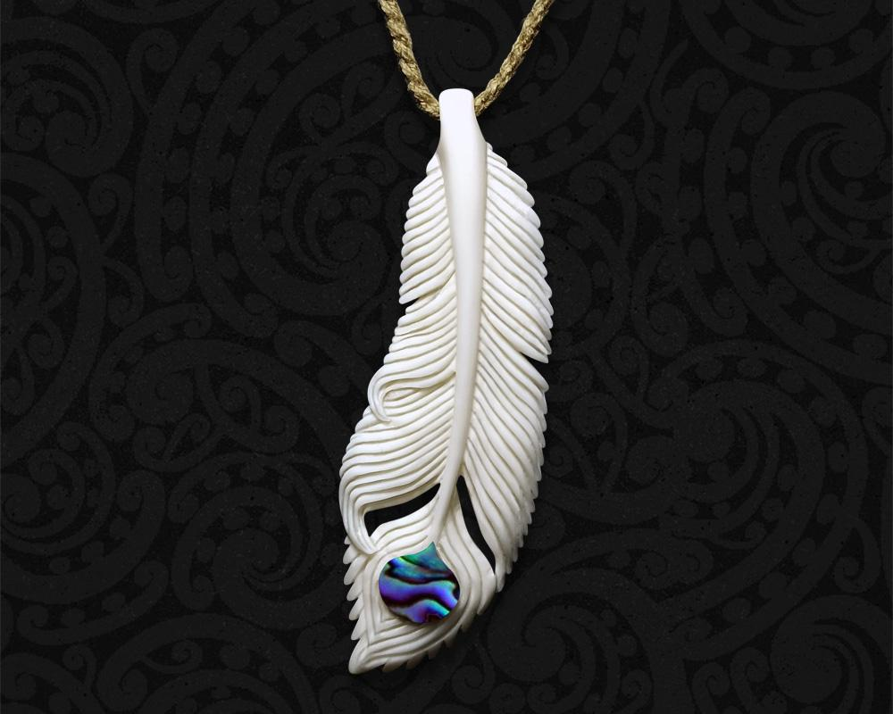 new zealand maori bone feather necklace
