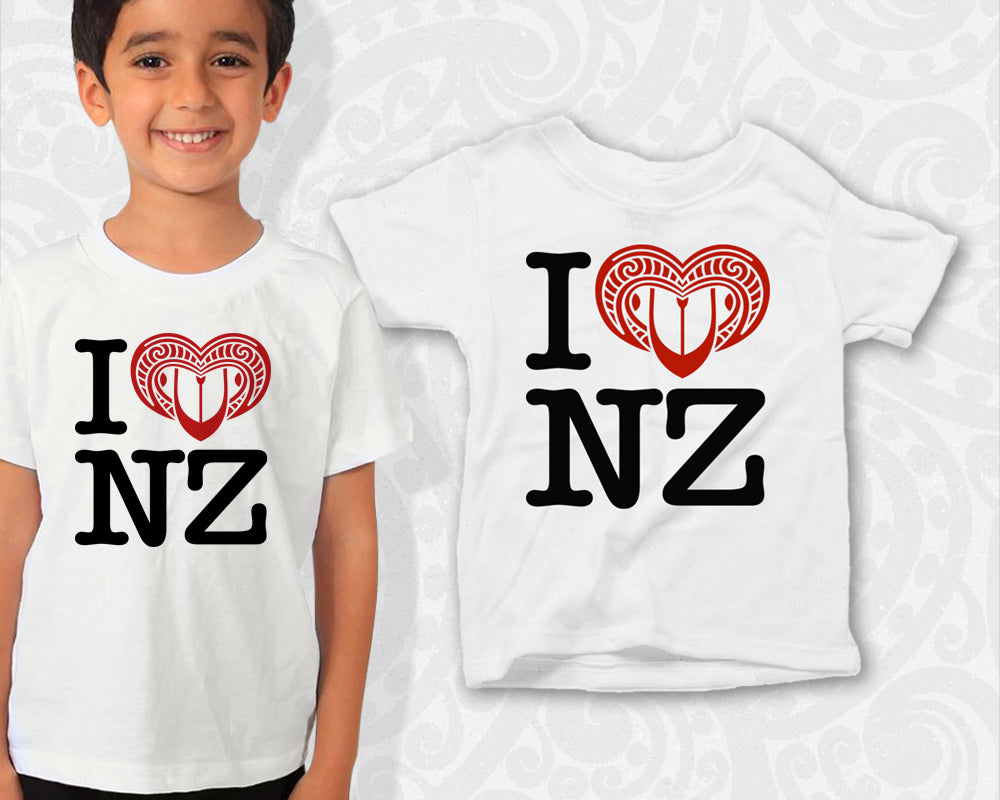 new zealand maori kids t shirt i love nz