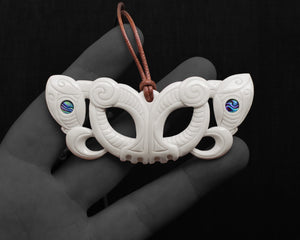maori necklace bone carving pekapeka pendant