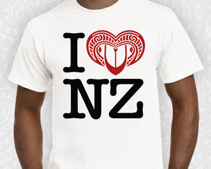 new zealand maori mens t shirt i love nz