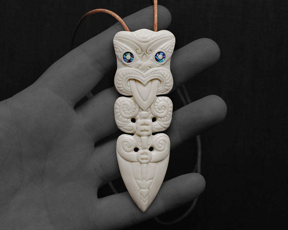 maori necklace bone carving taiaha warrior spear pendant
