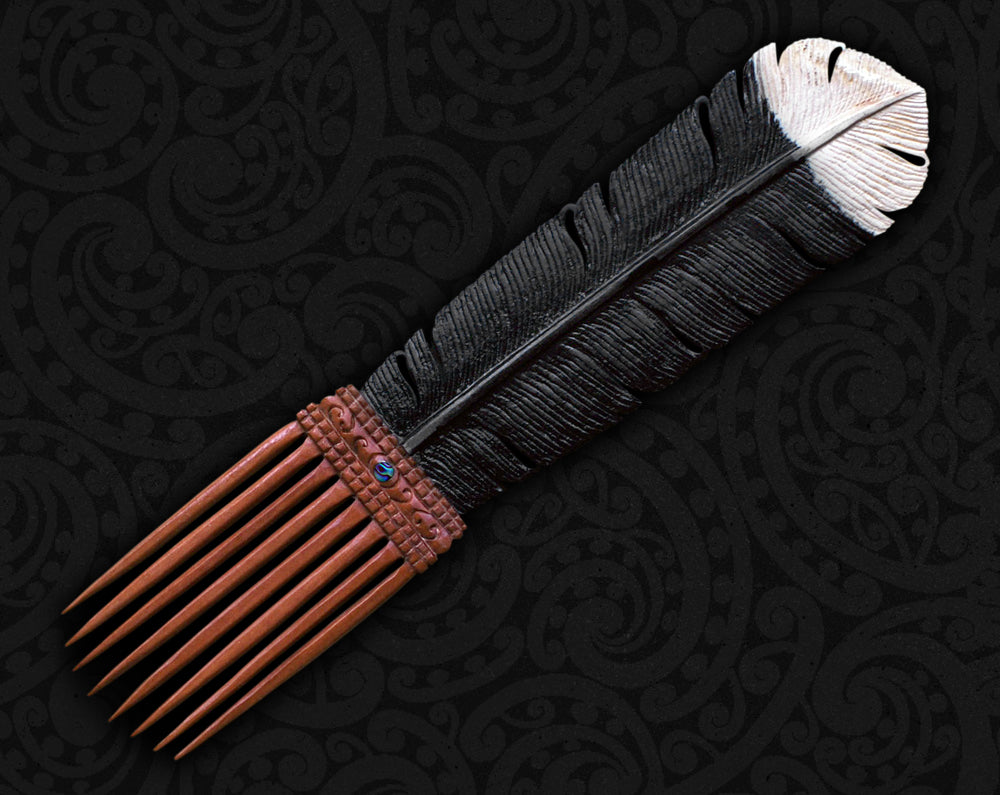 maori feather hair comb heru