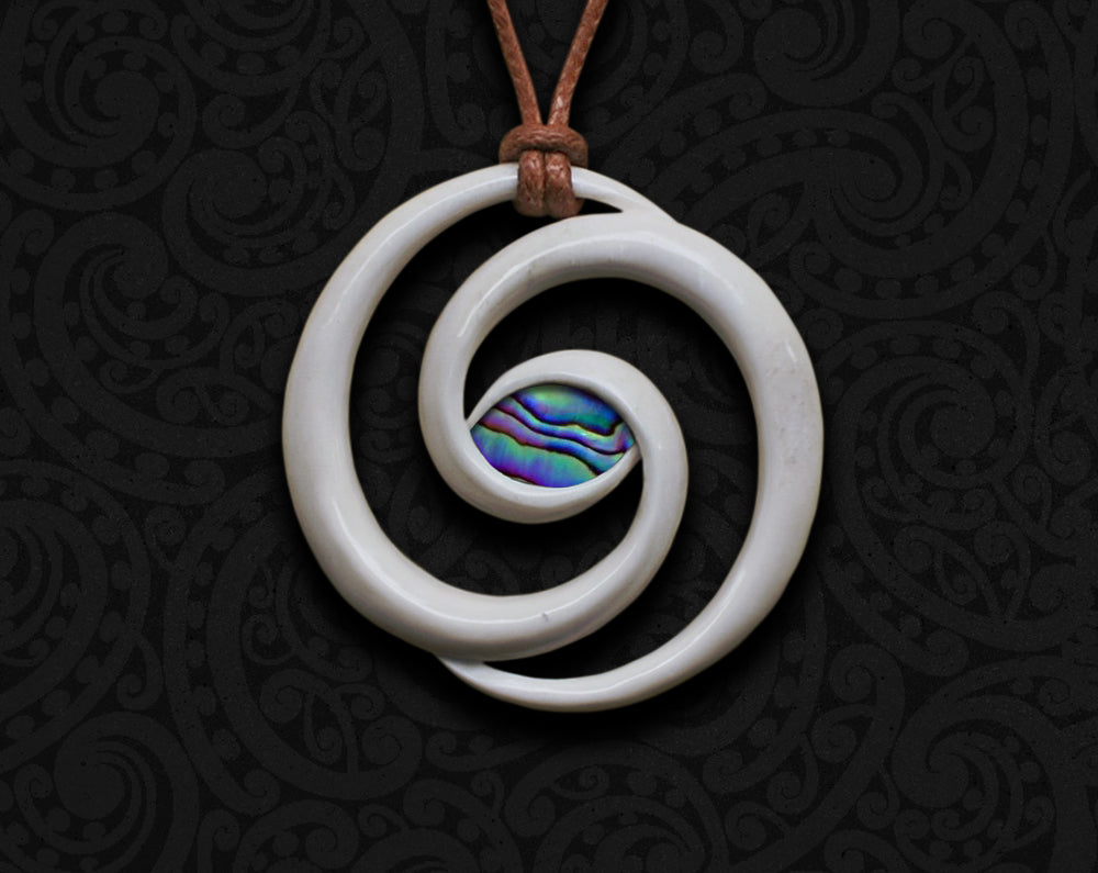maori necklace bone carving koru spiral