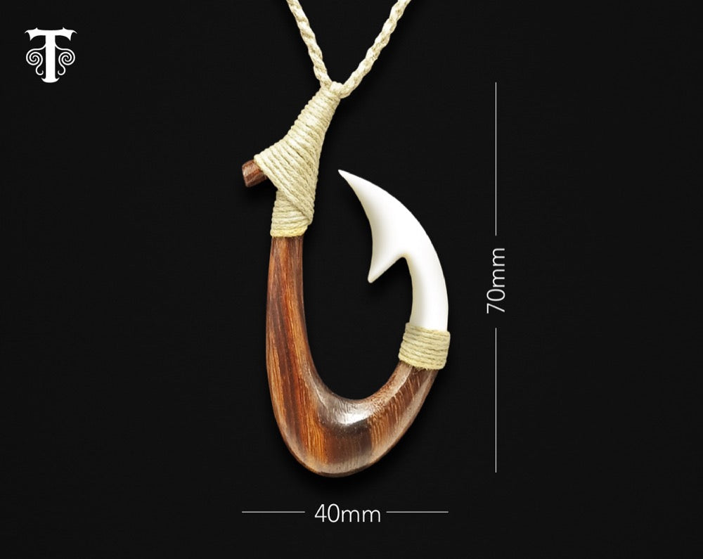new zealand maori necklace bone wood fish hook