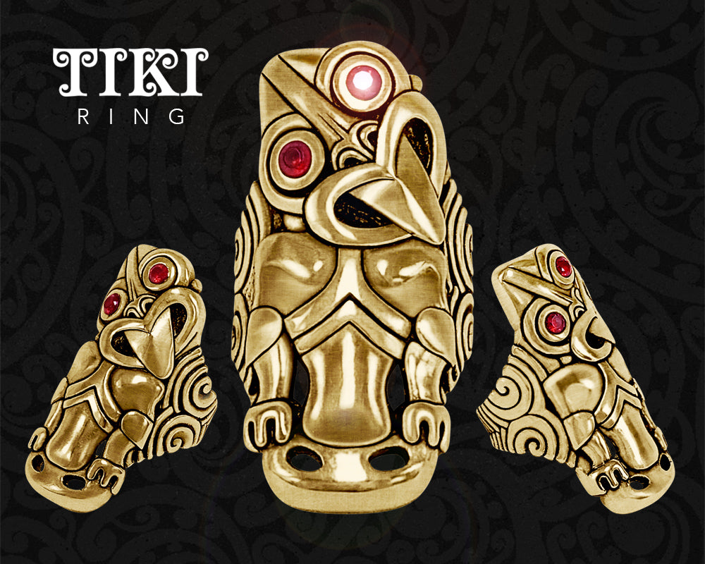 new zealand maori ring brass tiki