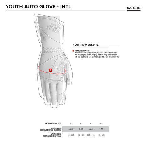 Alpinestars Youth Karting Gloves Size Chart