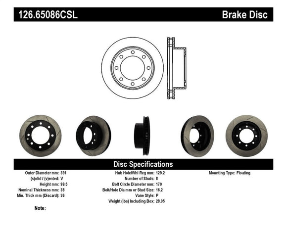 StopTech Power Slot 00-05 Ford Excursion / 99-04 F250/F350 Front Left Slotted CRYO Brake Rotor