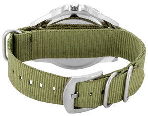 Casual dark green canvas strap and count-up bezel with white dial watch - DD17803