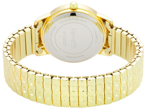 Classic gold expansion bracelet with 32 mm case and big numbers watch  - FT16001