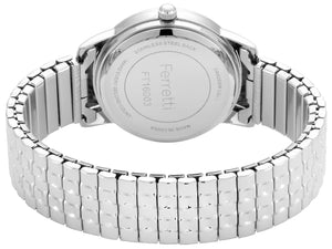Classic silver expansion bracelet with 32 mm black case and big numbers watch  - FT16003