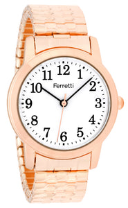 Classic rose gold expansion bracelet with 32 mm case and big numbers watch  - FT16004