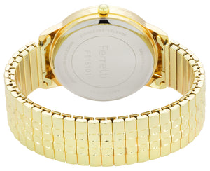 Classic gold expansion bracelet with 38 mm case and big numbers watch - FT16101
