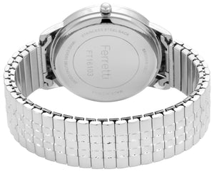 Classic silver expansion bracelet with 38 mm black case and big numbers watch - FT16103