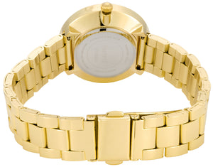 Adjustable Gold Stainless-Steel Bracelet 31 mm Case and White Stones Hour Markers - FT16201