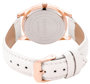 White Litchi Grain PU Leather Band 35 mm Case Arabic Numbers - FZ20201