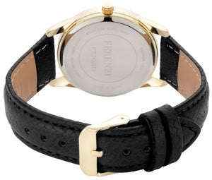 Black Litchi Grain PU Leather Band 35 mm Case Arabic Numbers - FZ20203