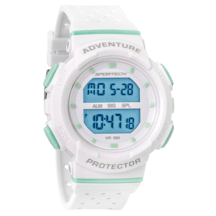 White and mint 40 mm digital water resistant sport watch - SP12701