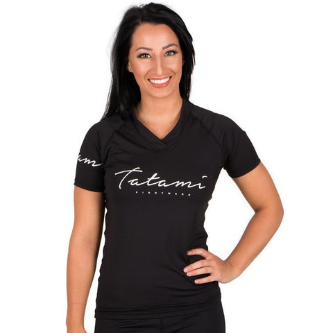 Ladies Black Script Rash Guard