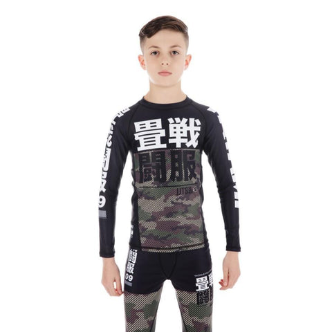Kids Essential Camo Long Sleeve Rash Guard - Green